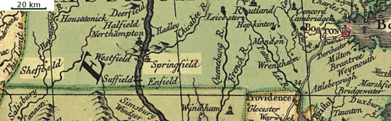 Massachusetts on John Mitchell's 1755 map