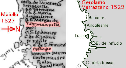1527 and 1529 mapping from Verrazzano data